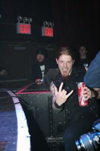 Terry from Blackguard enjoys some Ensiferum & a Budweiser beer