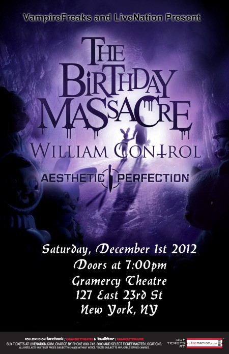 Poster - Birthday Massacre at Gramercy Theatre - 2012