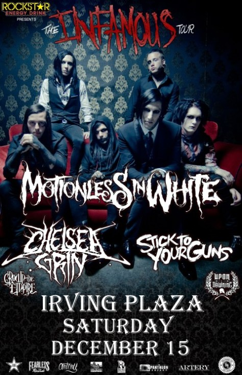 motionless in white nyc concert poster, motionless in white, chris motionless