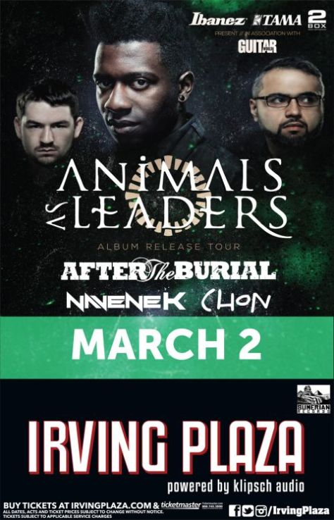 Poster - Animals As Leaders at Irving Plaza - 2014