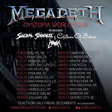 Tour - Megadeth - 2016