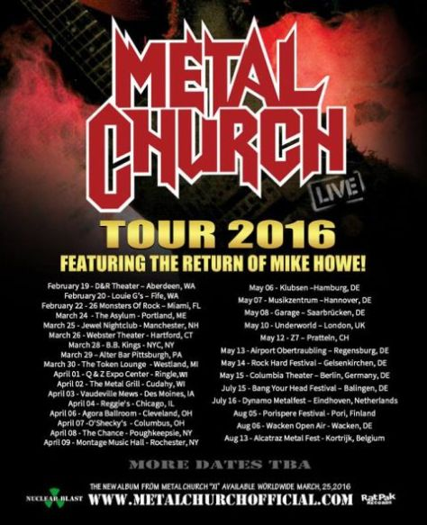 Tour - Metal Church - 2016