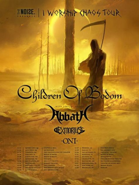 Tour - Children Of Bodom - I Worship Chaos Tour 2016