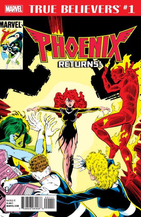 marvel comics, comic book covers, true believers phoenix series