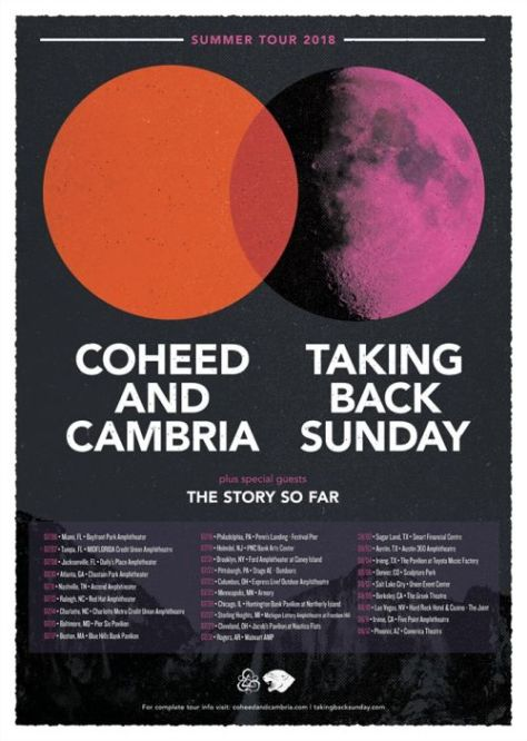 coheed and cambria, taking back sunday, tour posters, coheed and cambria tour posters, taking back sunday tour posters