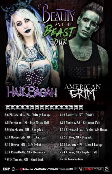 tour posters, hail sagan, american grim, beauty and the beast tour, hail sagan tour posters