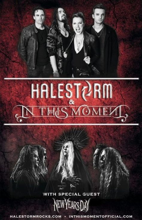 tour posters, in this moment, halestorm, new years day