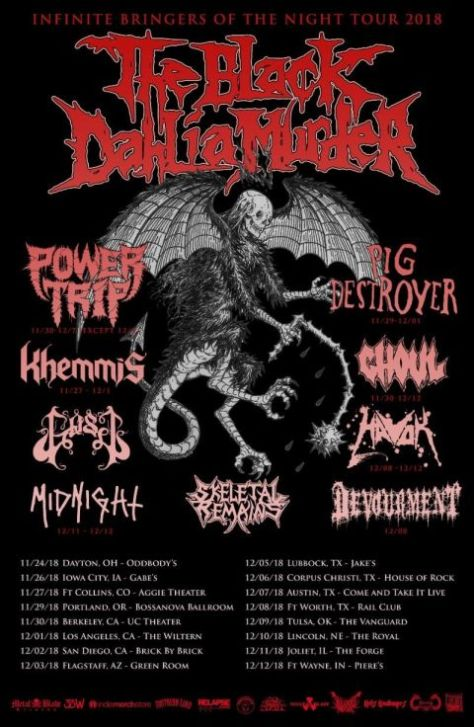 tour posters, black dahlia murder, black dahlia murder tour posters, metal blade records artists