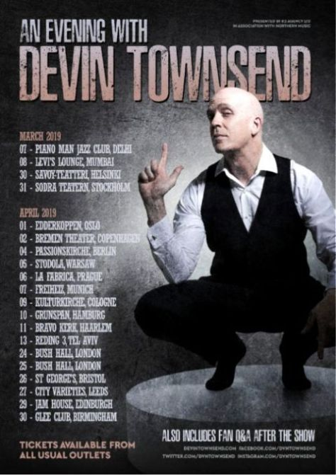 tour posters, devin townsend, insideout music, devin townsend tour posters