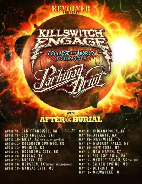 tour posters, killswitch engage, parkway drive