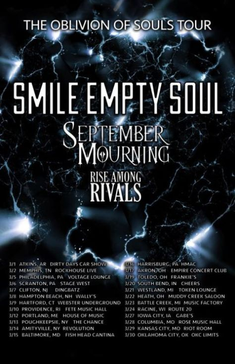 tour posters, smile empty soul, september mourning