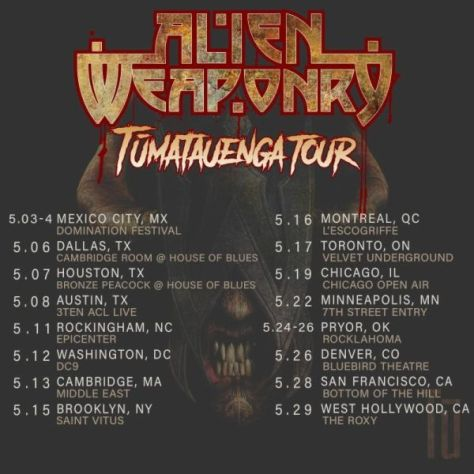 tour posters, alien weaponry, alien weaponry tour posters, napalm records artists