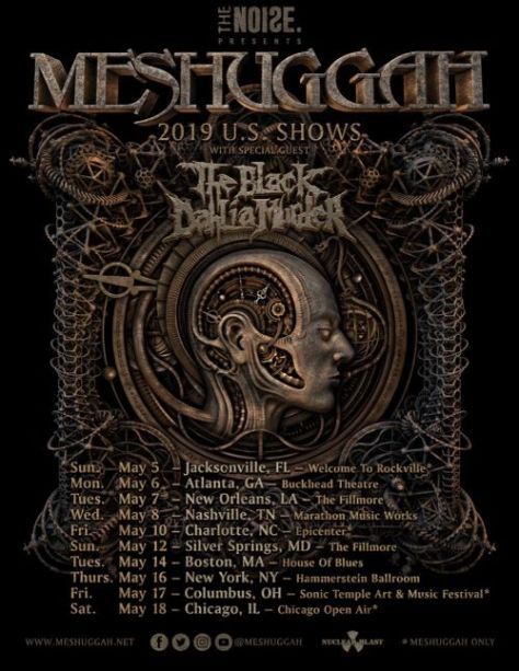 tour posters, meshuggah, meshuggah tour posters, nuclear blast records artists