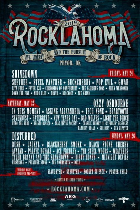 festival posters, rocklahoma, rocklahoma 2019