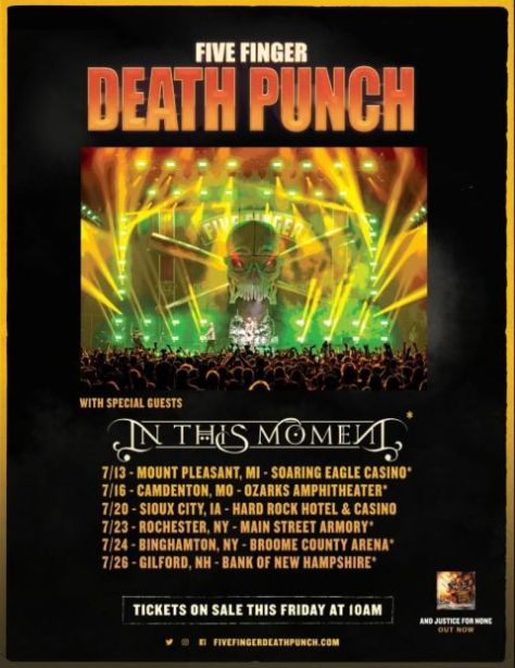tour posters, five finger death punch tour posters, five finger death punch