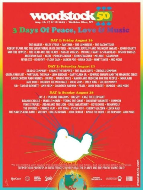 festival posters, woodstock 50th poster