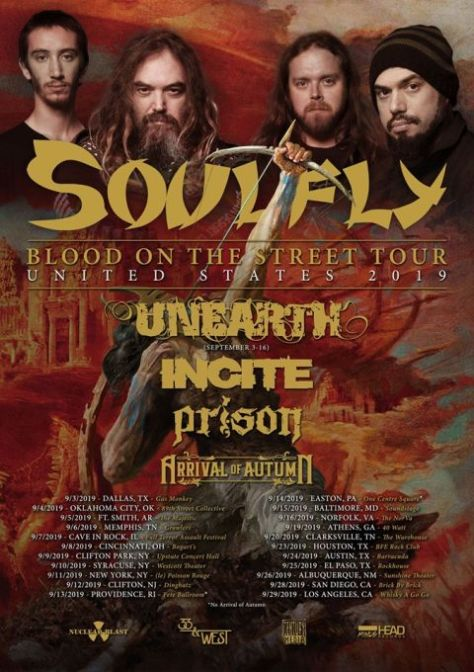 tour posters, soulfly, soulfly tour posters, nuclear blast records
