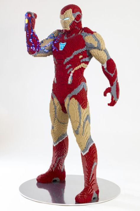 lego, iron man, avengers endgame, lego statues