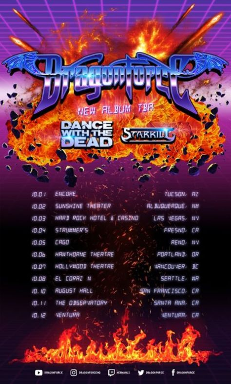 tour posters, dragonforce, dragonforce tour posters