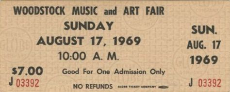 woodstock 1969 ticket