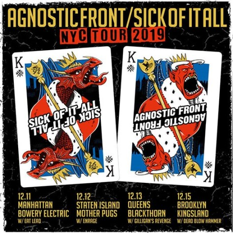 tour posters, sick of it all tour posters, agnostic front tour posters, sick of it all, agnostic front