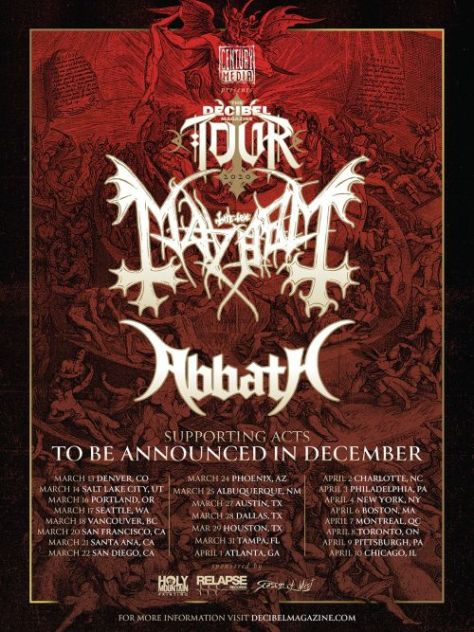 tour posters, abbath, mayhem, decibel magazine tour