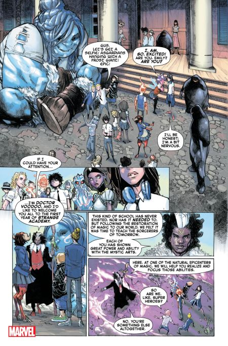 comic book preview pages, marvel comics, marvel entertainment, strange academy, strange academy preview pages