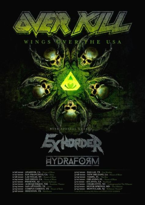 tour posters, promotional posters, nuclear blast records artists, overkill, overkill tour posters