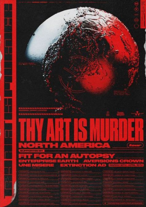 tour posters, thy art is murder, nuclear blast records artists, thy art is murder tour posters