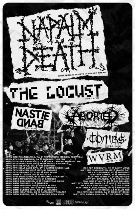 tour posters, napalm death, napalm death tour posters, century media records artists