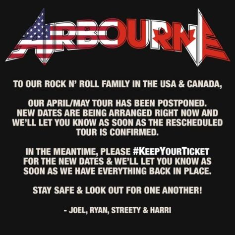 tour postponements, airbourne, spinefarm records artists