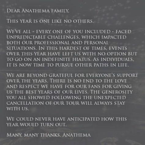 anathema hiatus, anathema