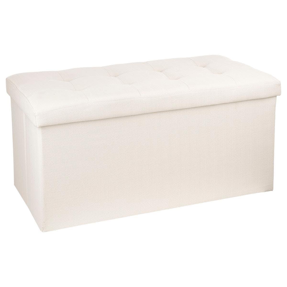 banc coffre de rangement pliant avec revetement en tissu beige et structure en mdf 76x38x38cm