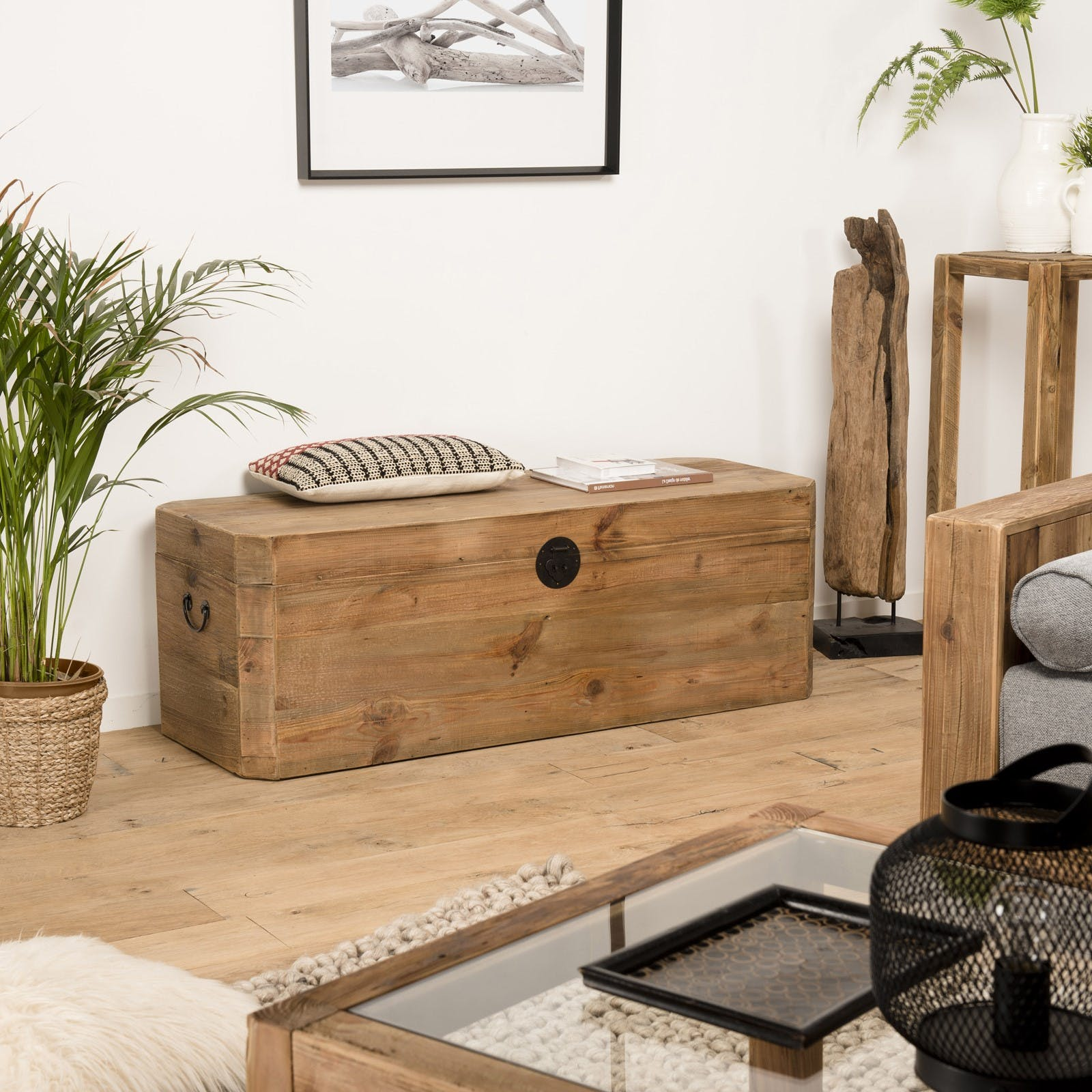 coffre de rangement en bois de pin recycle denver