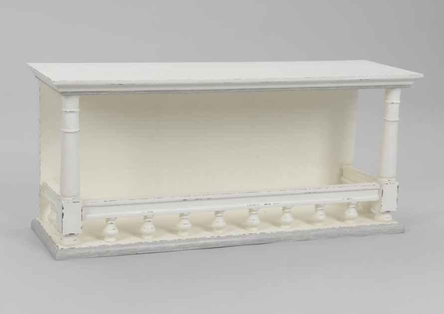 etagere murale romantique en bois vieilli blanc 80 cm ornement l80xp25xh35 amadeus
