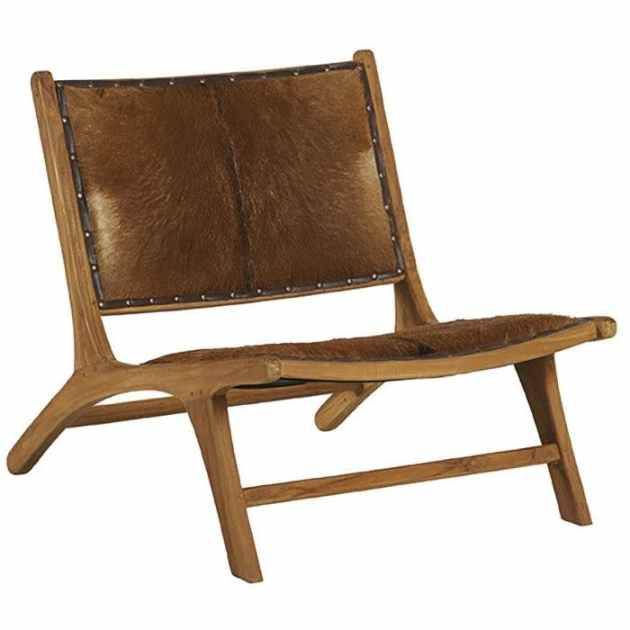 fauteuil bois de teck peau lampang