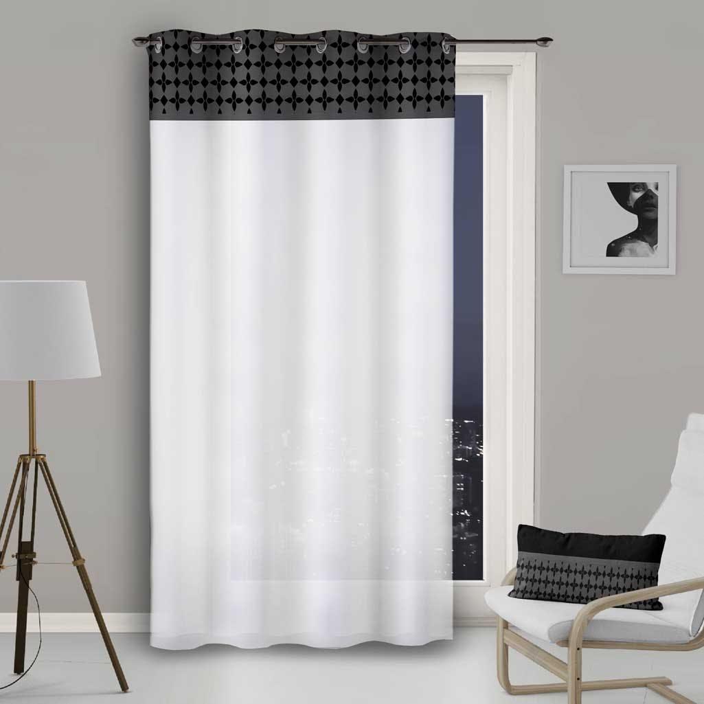 rideau voilage blanc avec bande damier noir 135x250cm