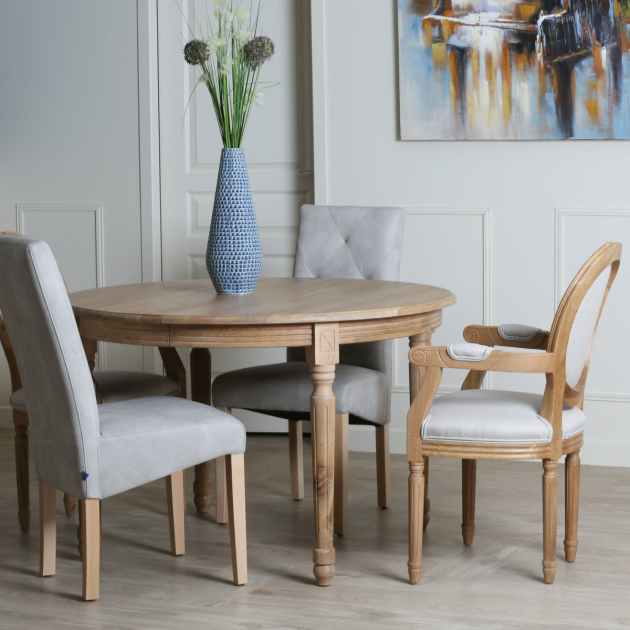 table ronde extensible bois chene clair 120 200 medicis