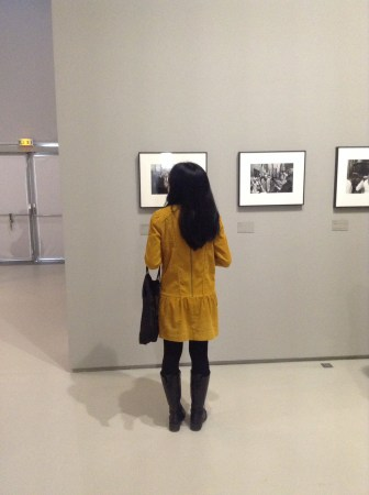 Jeu de Paume Museum. Love the mustard-colored dress against black and white backdrop