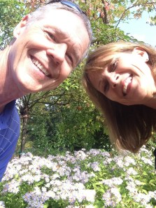 trying to capture the flowers in our selfie