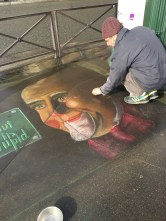 """Street artist, Paris. He wrote, """"Life without art is stupid."""""""