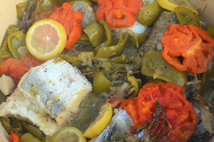 merlu, poivrons, au four, dorade, truite, tomate,