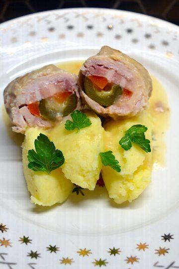 porc, roulés de porc , purée de pommes de terre