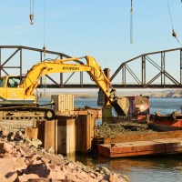 Excavator removing pre-drill riverbed_4.29.21