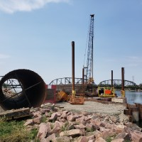Casing and reinforcing steel cage prepped for next drilled shaft-7.13.21
