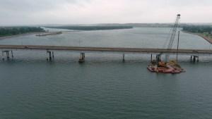 Ariel photo of current bridge and river_9.1.21