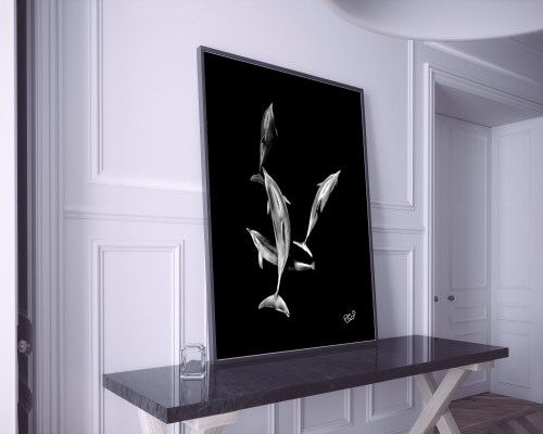 tableau moderne de dauphins au pastel sec