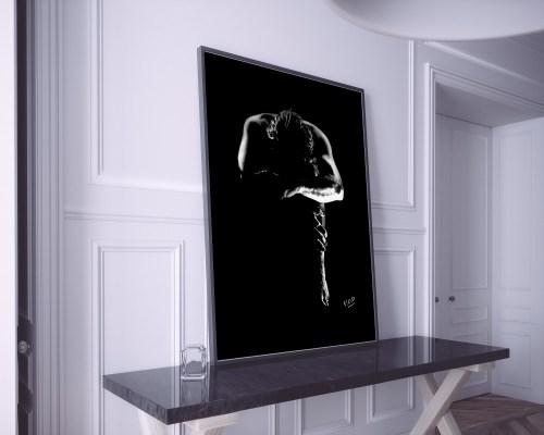 nu artistique masculin – tableau moderne d'homme nu 3 au pastel sec