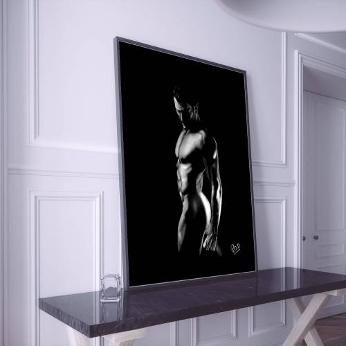 nu artistique masculin – tableau moderne d'homme nu 9 au pastel sec