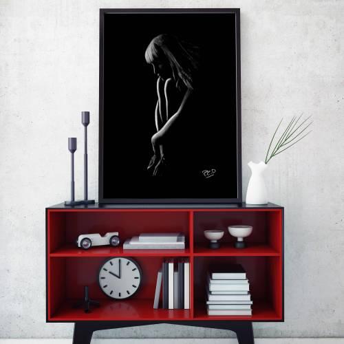 tableau moderne de femme nue 62 au pastel sec nude woman painting